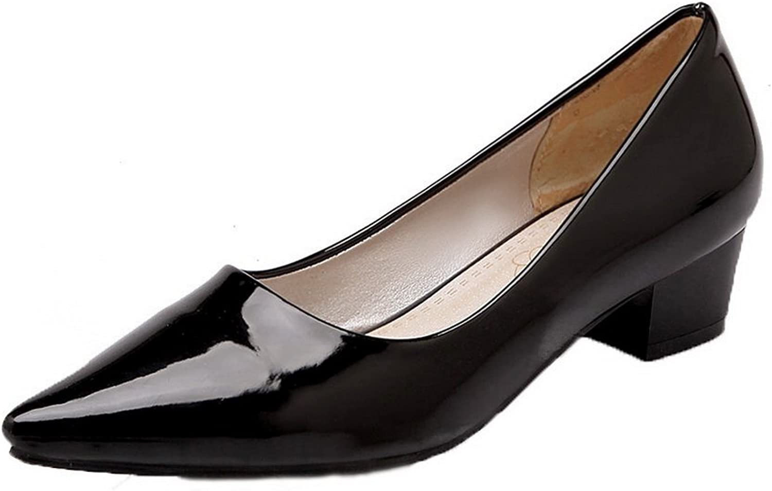 WeiPoot Women's Patent Leather Low-Heels Closed-Toe Solid Pull-On Pumps-shoes
