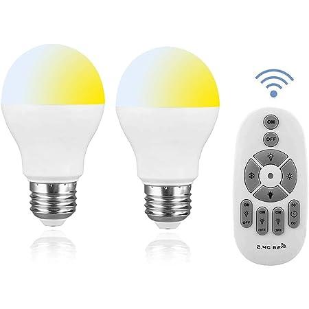 SenMeiGuang LED E26 電球 [2個入] リモコン付き 6W 調光調色 全光束570LM AC85-265V 60w相当 2.4GHzリモコン 常夜灯 電球色・昼白色対応 (この製品は、電池を含みません)