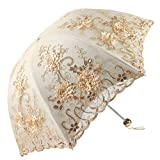 Lace Parasol Umbrella Gothic Umbrella Wedding Decoration Parasol Apiidoo Three-fold Yellow