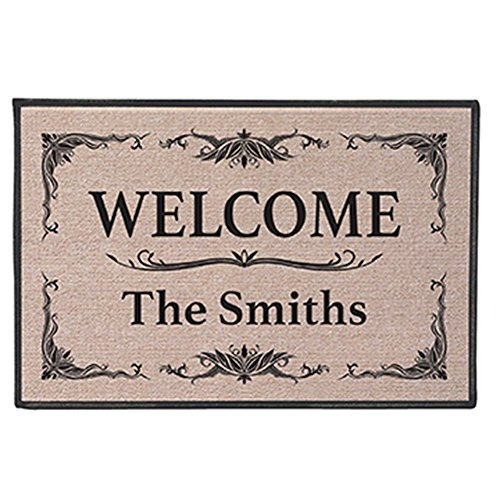 Price comparison product image WHAT ON EARTH Personalized Custom [Your Family Name] Indoor / Outdoor Welcome Mat Doormat - Classic Design
