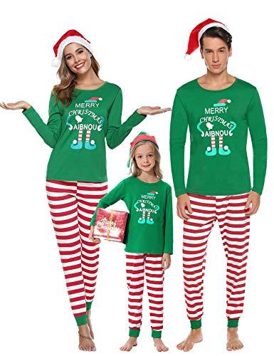 Aibrou Winter Familie Herren Damen Lang Pyjama Set, Karierte Schlafanzug mit Kopfleist Langarm Shirt und Pyjamahose Grün M
