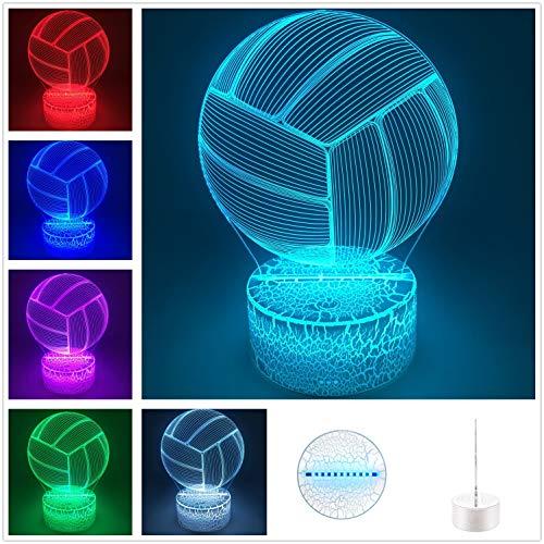 DowBier 3D Illusion Multi Color USB Schlaf-Nachtlicht Schreibtisch Lampe Zimmer Dekoration Art Deco Volleyball