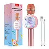 Microfono Karaoke Bluetooth, ERAY Microfoni Karaoke Wireless per Bambini, Supporta la Scheda TF / 1800mAh / Compatibile con Android e iOS, PC e Smartphone, Microfono Wireless con LED Flash, Rosa