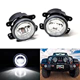 iJDMTOY Xenon White LED Daytime Running/Fog Lamps Compatible With Jeep Wrangler Grand Cherokee Dodge Charger Magnum, (6) CREE XP-G LED Lights as Halo DRL & (1) 10W CREE XB-D LED Light as Fog Light