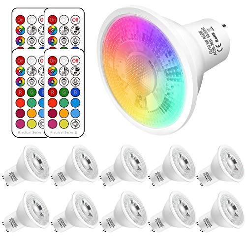 GU10 LED Farbwechsel Lampe, 5W ersetzt 50W Halogen,500 Lumen, GU10 LED neutralweiss 4500K RGBW, gu10 farbe Dimmbar,10 Stück