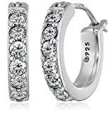 "Platinum Plated Sterling Hoop Earrings set with Round Cut Swarovski Zirconia (3/4 cttw), .5"" Diameter"