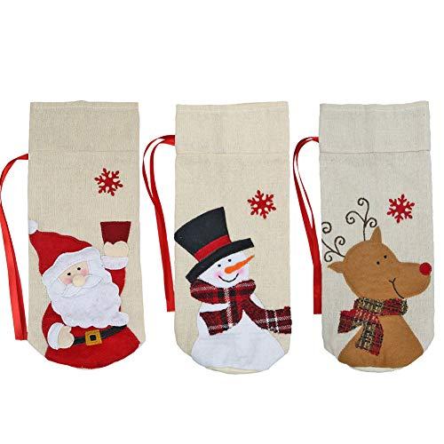 ZED- 3 stks Kerstmis Fles Covers Lelijke Trui Wijn Cover Fles Decor voor Kerstmis Feesttafel Decoraties