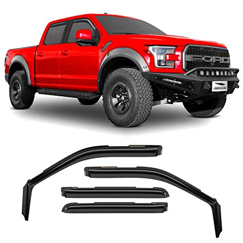 Voron Glass in-Channel Extra Durable Rain Guards for Trucks Ford F-150 2015-2020 SuperCrew, Window Deflectors, Vent Window Visors, 4 Pieces - 220018