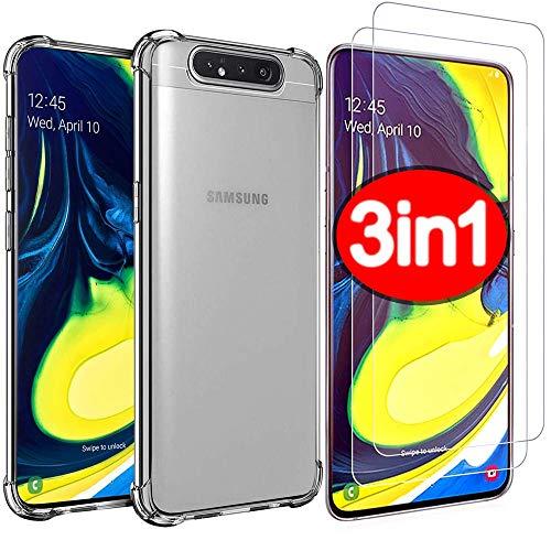PROTOTEL 2X Panzerglas + Hülle Samsung Galaxy A80 / A90 Panzerfolie. Bildschirmschutzfolie 9H Hartglas und Silikon Hülle transparent Schutzfolie für Bildschirmschutz A80 / A90