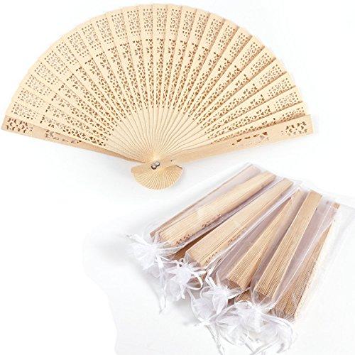 Surepromise 10er Handfächer Taschenfächer Klappfächer Stofffächer Holz Natur mit 10...