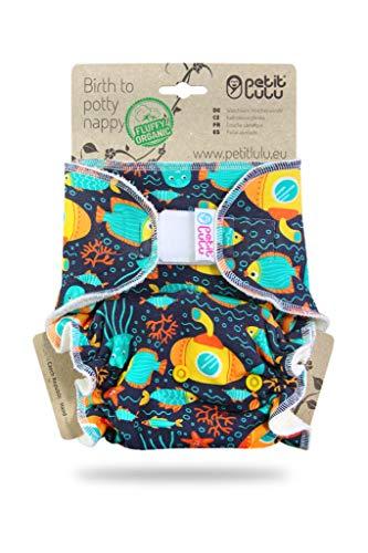 Petit Lulu One Size Höschenwindel (4-15 kg) Klett | Fluffy Organic | Bambus natürliche wiederverwendbare Stoffwindeln | Ohne Polyester (U-Boot)