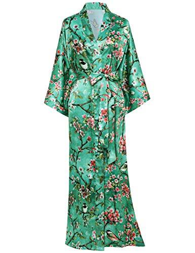 ArtiDeco Damen Morgenmantel Maxi Lang Seide Satin Kimono Kleid Blüten Muster Kimono Bademantel Damen Lange Robe Blumen Schlafmantel Girl Pajama Party 135 cm Lang (Grün)