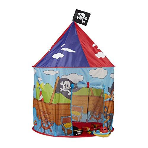 Relaxdays 10022458 Piraten Spielzelt für Jungen, Kinderzelt mit Piratenflagge ab 3 Jahren, Spielhaus H xD 130 x 100 cm, rot-blau