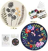 Embroidery Beginner Kits for Adults, 3 Sets Embroidery Starter Kit with Pattern & Instructions Include 3 Embroidery Clothes Floral Pattern/ 3 Plastic Embroidery Hoops/Color Threads and Tools