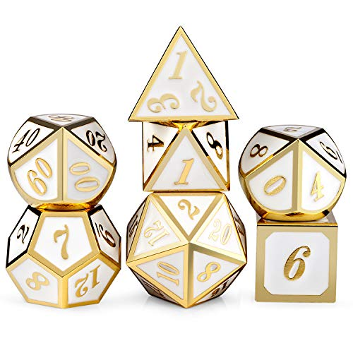 White with Gold Number DND Dice Sets,Solid Metal Die with Free Gorgeous Metal Tin for Dungeons and Dragons D&D Role Playing Game Tabletop Games