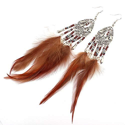 Anglacesmade Boheemse Veer Oorbellen Kralen Kwastje Kroonluchter Oorbellen Drop Dangle Oor Haak Tribal Oorbellen voor Vrouwen en Meisjes Headband and earrings BRON