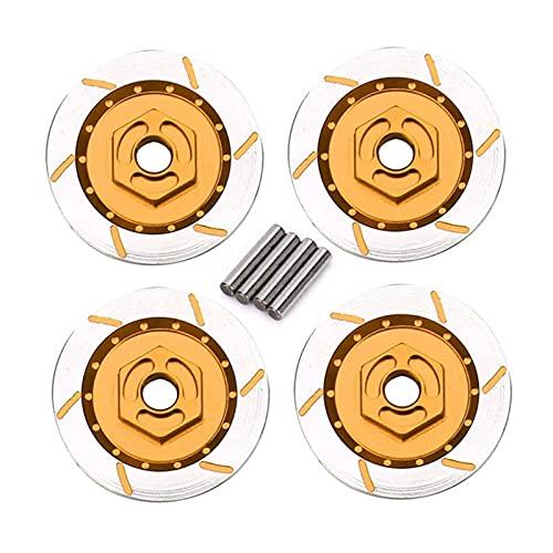 Alliage d'aluminium 4PCS La boîte de roue de disque de frein en métal 12mm écrou hexagonal pour les modèles RC 1/10 pièces de mise à niveau de voiture HSP 94123/122/103 D4 CS ( Couleur : Golden )
