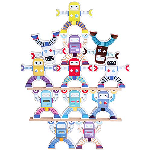 Wooden Robots Stacking Balancing Block Puzzle Game Building Toy Educational STEM Montessori for Preschool Kids Toddlers Sorting Skill Developing Intelligence Play Kits