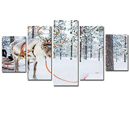 WUZHIXIN 5 Pieces Painting Canvas Wall Art Modular Picture Home Decoration For Canvas Wall Art HD Print Canvas For Living Room Decor Home Gift Reindeer snow animal 150 * 80cm