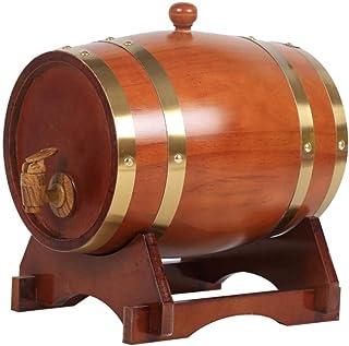 Tonneau de Vin en Bois, Tonneau à vin en chêne brun Tonneau à vin en bois vintage 3L (Capacity : 1.5L)