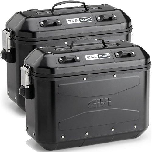 Givi DLM36BPACK2 Trekker 36 Dolomiti aluminium koffer set monokey, zwart, 40
