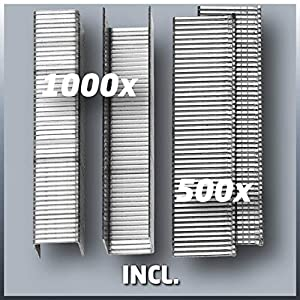 Einhell Elektrotacker TC-EN 20 E (für Klammern Typ 53, Nägel Typ 47, elektronische Schlagkraftvorwahl, Sicherheitsnase, inkl. 1000 Klammern/500 Nägel)
