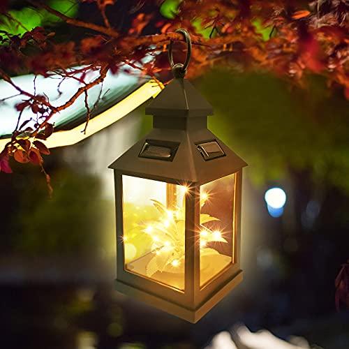 KEEHOM Solarlaterne für außen hängend stehend, 1 Stück Solar Gartenlaterne, Metall Solar Laternen für Draußen, LED Garten Hängende Gartenlaterne Dekorative Wasserdicht IP65 mit Lichtempfindlichkeit