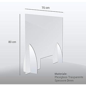 Parafiato parasputi da banco Parete divisoria dispositivo di sicurezza covid 19 in plexiglass trasparente con apertura passa soldi 80x80 centimetri OMAGGIO 2 adesivi calpestabili