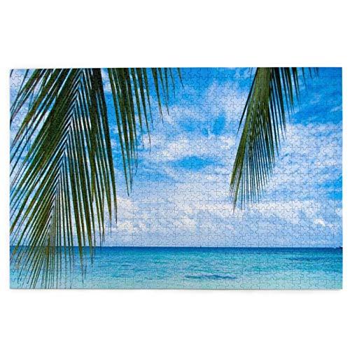 Cute Doormat Rompecabezas de arena azul de la isla amarilla del océano de la playa debajo de las palmeras Rompecabezas de la arena del océano para adultos en rompecabezas de suelo