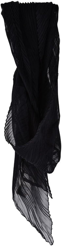 Agnona Scarf Women's Black Plain Silk 140 cm x 34 cm