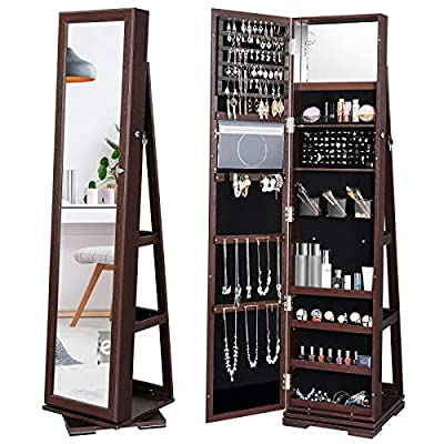 YITAHOME 360° Rotating Jewelry Cabinet Armoire 3-in-1 Jewelry Organizer Free Standing with Higher Full Length Mirror,Inside Makeup Mirror,Rear Storage Shelves, Walnut