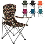 Highlander Folding Camp Chair ― Lightweight & Durable Outdoor Seat ― Perfect for Camping, Festivals, Garden, Caravan Trips, Fishing, Beach, BBQs (Camo)