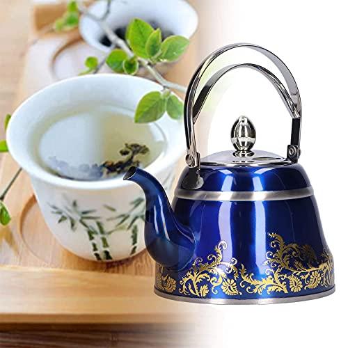Tetera de 1L/1.5L/2L Pava Inox con Hervidor de Agua de Calidad Alimentariacon Mango Resistente Al Calor Mango de Tetera Adecuado para Cocina Inducción de Agua Café,Azul,2L