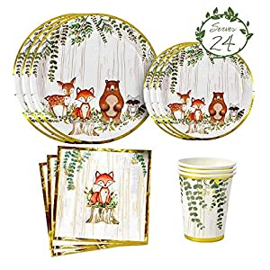 """🦊WOODLAND PARTY SUPPLIES SET SERVES 24: Oh Baby, you're going to love our vibrant woodland baby shower & birthday party supplies set that includes 24 9"""" dinner plates, 24 7"""" appetizer or dessert plates, 24 9oz paper cups and 24 4 ply napkins featurin..."""