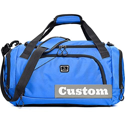 FireH Personalizado Nombre Personalizado Gimnasio Mujer Viajes Viajes Duffel Bag Amplio Gimnasio Hombres Compartimiento Bolsa de Zapatos (Color : Blue, Size : One Size)