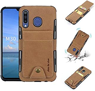 Wallets Durable Canvas Fabric Vertical Flip Case, Smartphone Back Cover with Dual Card Slots for Samsung Galaxy M30 Case Shockproof (Color : Khaki)