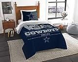 NFL Dallas Cowboys Unisex 'Draft' Twin Comforter and Sham Set, Blue, Twin