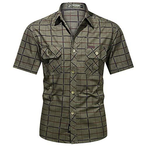 Camisa De Hombre De Moda Camisa De a Cuadros con BotóN Delgado para Hombre Casual Camisa De Manga Corta para Hombre con Bolsillos