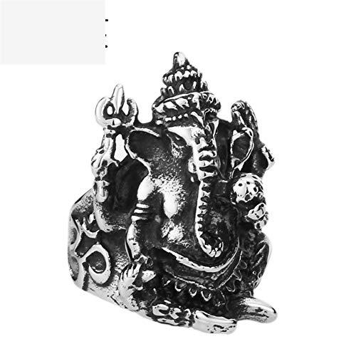 Vintage titanium stalen ring heren religion driedimensionale carving olifant trounk persoonlijkheid mode trends creatieve geschenken punk gothic oude eenvoudige 9