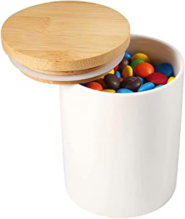 77L Food Storage Canister with Airtight Wooden Lid - Ceramic Food Storage Canister, 10.09 FL OZ (302 ML) White Ceramic Canister, Food Storage Jar for Coffee, Sugar, Tea, Spice and More