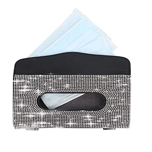 Ewendy Bling Bling - Funda de piel sintética con visera para coche, diseño de cristal, hecho a mano, para mujer