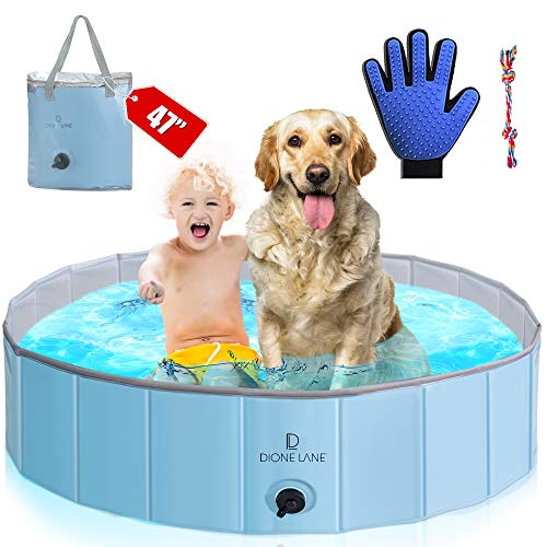 Dog Pool Plastic Foldable - Kiddie Pool for Dogs | Hard Plastic Pool for Kids | Multi Use Foldable Pool | Pet Pool | Portable Pool | Wading Pool | Dog Swimming Pool | Doggie Pool | Durable Dog Pools