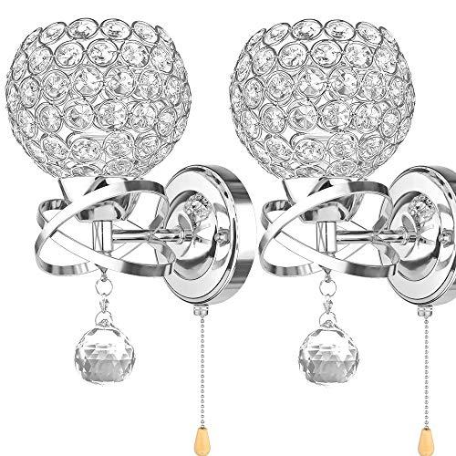 ALLOMN Moderne Wandleuchte, Kristall Anhänger Wandleuchte Schlafzimmer Gang Wohnzimmer Wandleuchte Halter E14 Sockel (Glühbirne Nicht Enthalten) (Mit Zugschalter)