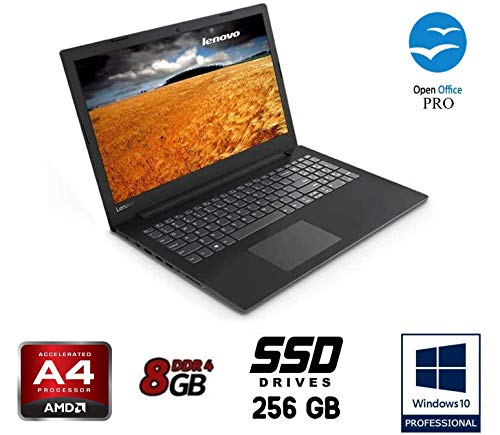 "Notebook Lenovo cpu A4 9125 burst fino a 2,6GHz , display da 15,6"" HD, DDR4 8Gb, SSD da 250Gb , Radeon R3, Wi-fi, Lan, Bt, Win10 Pro, Suite Office, Antivirus, Pronto All'uso Garanzia Italia"
