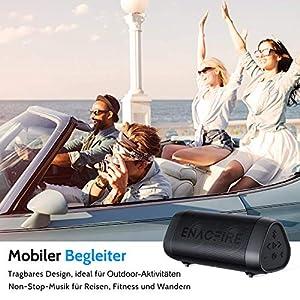 ENACFIRE SoundBar Mini Bluetooth Lautsprecher, 12W Kabellose Tragbare Musikbox mit Freisprechfunktion, 25 Stunden Spielzeit, 30m Bluetooth Reichweite, IPX7 Wasserdicht
