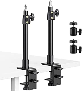 """Desk Mount Stand, 2 Pack DSLR Camera Desk Mount C Clamp Light Stand, 13.7"""" ~23.2"""" Photographic Light Boom Stand with 360° ..."""