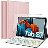 IVSO Samsung Galaxy Tab S7 Tastatur Hülle mit Panzerglas, [QWERTZ Deutsches], Schutzhülle mit abnehmbar Bluetooth Beleuchtete Tastatur für Samsung Galaxy Tab S7 (SM-T870/875) 11 Zoll 2020, Rosegold