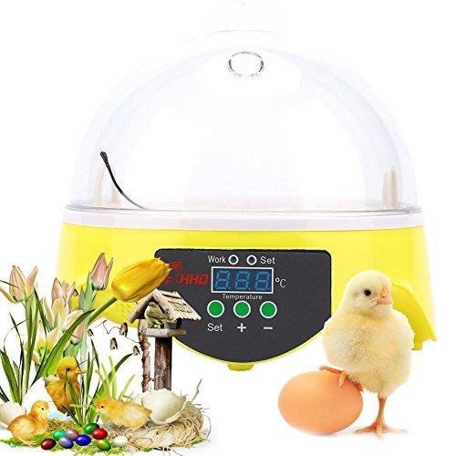 Inkubator, 7 Eier, automatisch, digital, für Inkubator, Eier, automatische Brutmaschine, Eierbrüter, Digital, mit automatischer Drehung, Intelligent Mini, 18 x 18 x 17 cm
