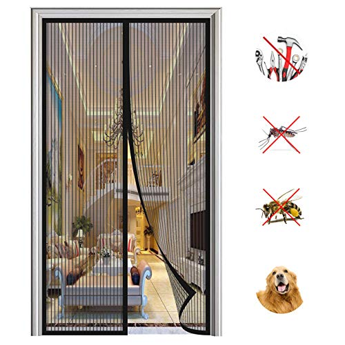 Mosquitera Puerta Magnetica, Adsorción Magnética Plegable Anti Mosquito Insecto Mosquitera, para Puertas de Salón Balcón Corredor-Black-a|| 70x200cm(27x78inch)