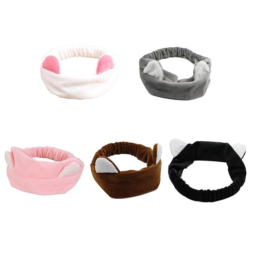 靴下怠な正直ランニングスポーツ(ホワイト+ブラック+ピンク+ブラウン+グレー)を作るための5pcsかわいい猫の耳のヘアバンド弾性洗う顔のヘッドラップ